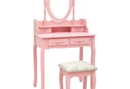 vidaXL Toaletka ze stołkiem, różowa, 75x69x140 cm, drewno paulowni289315