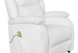 vidaXL Fotel masujący, biały, sztuczna skóra242513