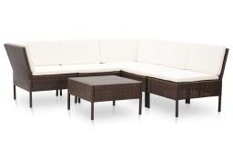 vidaXL 6-cz. zestaw wypoczynkowy do ogrodu, poduszki, rattan PE, brąz 48947