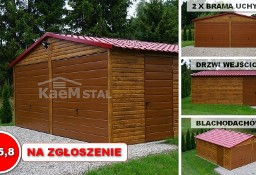 Garaż blaszany 6x5,8 drewnopodobny złoty dąb- garaże blaszane, blaszak CAŁA POLSKA