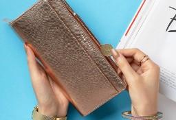 TED BAKER/ Skórzany, duży portfel damski w pudełku / 100% Skóra naturalna/ Gold Rose