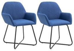 vidaXL Krzesła do jadalni, 2 szt., niebieskie, tapicerowane tkaniną249811