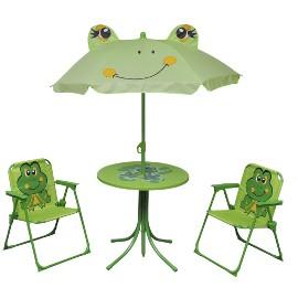 vidaXL 3-cz. dziecięcy zestaw mebli do ogrodu, z parasolem, zielony 41843