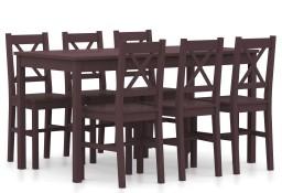 vidaXL 7-częściowy zestaw mebli do jadalni, drewno sosny, ciemny brąz283377