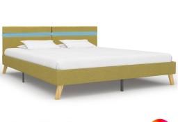 vidaXL Rama łóżka z LED, zielona, tkanina, 160 x 200 cm 284862
