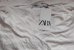 (36/S) ZARA/Biała bluzka dzianinowa z odkrytymi ramionamia/hiszpanka