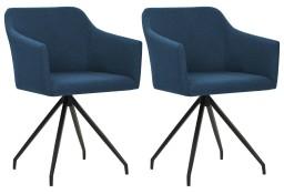 vidaXL Obrotowe krzesła stołowe, 2 szt., niebieskie, tkanina 247063