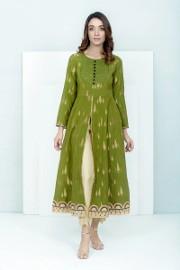 Nowa tunika suknia indyjska S 36 kaftan kurta kameez zielona złota boho hippie etno bawełna żakard