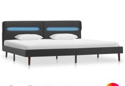 vidaXL Rama łóżka LED, ciemnoszara, tkanina, 140 x 200 cm286886