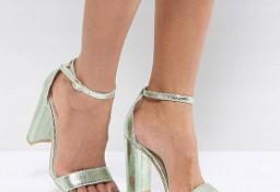 (40) Firmowe, miętowe, metaliczne sandałki wieczorowe, sandały z Londynu/NOWE