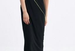 (38/M) ZARA/ Czarna, długa sukienka z ozdobną lamówką/ NOWA z metką