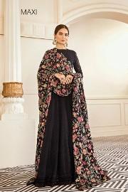 Nowa czarna suknia S 36 M 38 szyfon haft maxi szal spodnie jedwab Bollywood cygaretki
