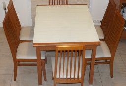 Stół BLT212-BL Red Cherry szklany mleczny blat + 6 skórzanych krzeseł AGATA
