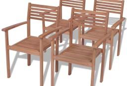 vidaXL Krzesła ogrodowe sztaplowane, 4 szt., lite drewno tekowe 43037