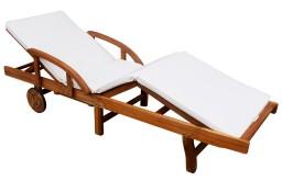 vidaXL Leżak z poduszką, lite drewno akacjowe 42595
