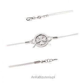 Bransoletka srebrna z koniczynką na białym sznurku _ biżuteria na szczęście