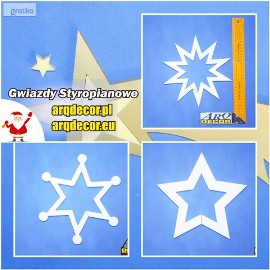 Gwiazdy, gwiazdki, ozdoby styropianowe, Boże Narodzenie dekoracje