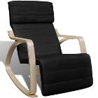 vidaXL Fotel bujany, czarny, gięte drewno i tkanina 241435