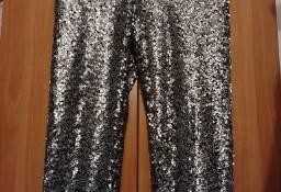 (36/S) H&M/ Cekinowe, srebrne, długie legginsy, spodnie, rurki z Wiednia/ NOWE