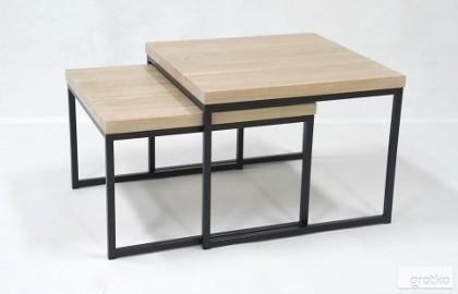 stolik kawowy - ława, dębowy szczotkowany olejowany blat z drewna