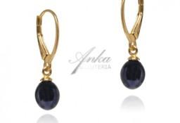 Kolczyki srebrne pozłacane z czarną perłą