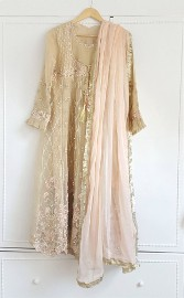 Nowa sukienka tunika indyjska S 36 M 38 zdobiona chusta różowa beżowa Bollywood sari saree