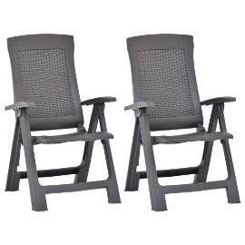 vidaXL Rozkładane krzesła do ogrodu, 2 szt., plastikowe, kolor mokka 48762