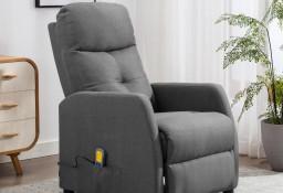 vidaXL Rozkładany fotel masujący, jasnoszary, tapicerowany tkaniną289826