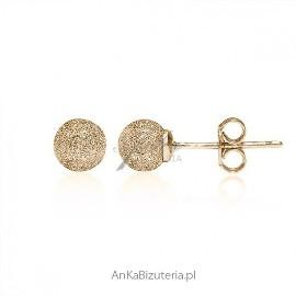 Kolczyki srebrne pozłacane 18 k złotem diamentowane 0,5 cm