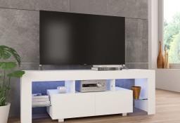 vidaXL Szafka pod TV ze światłem LED, błyszcząca, biała, 130x35x45cm283734