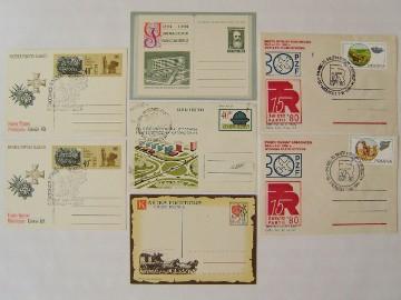 Zestaw 7 szt. kartki koperty całostki pocztowe PRL