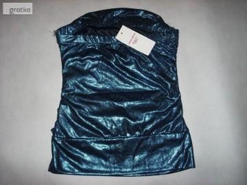 Tally Weijl Błyszcząca bluzka na imprezę Granat Niebieska Nowa 34 XS