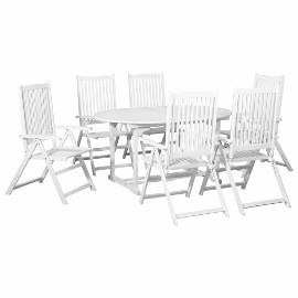 vidaXL 7-częściowy zestaw ogrodowy z rozkładanym stołem, drewno, biały 44060