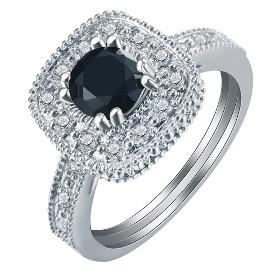 Nowy duży pierścionek srebrny kolor czarna cyrkonia retro królewski wiktoriański