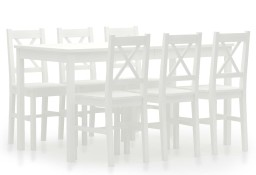 vidaXL 7-częściowy zestaw mebli do jadalni, drewno sosnowe, biały283375