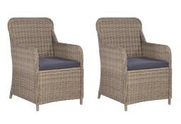 vidaXL Krzesła ogrodowe z poduszkami, 2 szt., polirattan, brązowe 44147