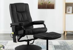 vidaXL Fotel masujący z podnóżkiem, czarny, sztuczna skóra249302