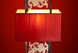 Piękna lampa stojąca; motywy orientalne z kamienia
