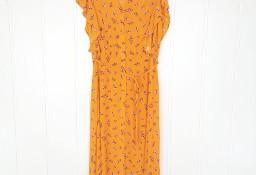 Nowa sukienka F&F 42 XL żółta w kwiaty wzór floral lato guziki retro wiskoza