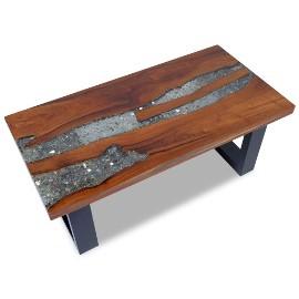 vidaXL Stolik kawowy z drewna tekowego i żywicy, 100x50 cm243467