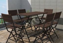 vidaXL 7-cz. zestaw składanych mebli ogrodowych, stal, rattan PE, brąz 42877