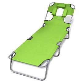 vidaXL Składany leżak z podgłówkiem, malowana stal, zielony 41484