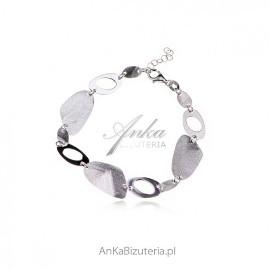Piękna bransoletka srebrna satynowana -artystyczna biżuteria