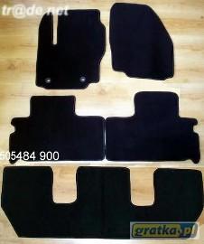Ford S-MAX od 2006 do 2010 r. 3 rzędy DUŻY WZÓR najwyższej jakości dywaniki samochodowe z grubego weluru z gumą od spodu, dedykowane Ford S-MAX