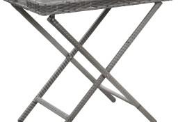 vidaXL Stolik składany, szary, 80x45x75 cm, polirattan46981