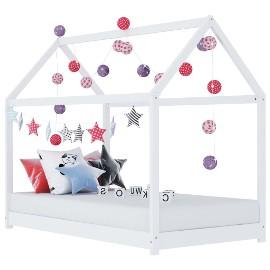 vidaXL Rama łóżka dziecięcego, biała, lite drewno sosnowe, 70 x 140 cm 283349
