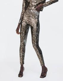 (40) ZARA/ Wytworne, cekinowe legginsy, spodnie rurki, getry z Madrytu/ NOWE z metką