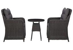 vidaXL 2 krzesła ogrodowe ze stolikiem, polirattan, czarne 46550