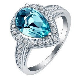Nowy pierścionek srebrny kolor jasnoniebieska cyrkonia niebieska duży retro