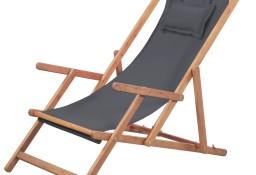 vidaXL Składany leżak plażowy, tkanina i drewniana rama, szary 43997